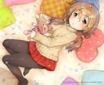 1girl :3 bandaged_arm bandaged_ear bandaged_leg bandages bandaid_on_cheek bangs bed_sheet black_legwear blush brown_eyes brown_sweater closed_eyes closed_mouth commentary_request dutch_angle eyebrows_visible_through_hair hair_between_eyes hair_cubes hair_ornament heart heart_pillow ichihaya light_brown_hair long_hair long_sleeves looking_at_viewer low_twintails lying no_shoes on_side original pantyhose parted_lips pillow plaid plaid_pillow pleated_skirt polka_dot polka_dot_pillow red_skirt ribbed_sweater skirt sleeves_past_wrists solo star stuffed_animal stuffed_bunny stuffed_toy sweater twintails watermark web_address