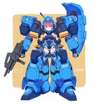 1girl armor bare_shoulders breasts commentary_request controller elbow_gloves full_body gloves gun gundam gundam_hathaway's_flash gustav_karl helmet highres large_breasts leotard looking_at_viewer mecha_musume michi_kuso pink_eyes pink_hair shield short_hair simple_background solo thighhighs weapon