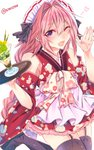 1boy astolfo_(fate) bare_shoulders black_legwear blush braid commentary_request drink fang fate/apocrypha fate_(series) garter_straps hair_ribbon highres japanese_clothes long_hair looking_at_viewer male_focus one_eye_closed open_mouth otoko_no_ko pink_hair purple_eyes ribbon shisei_(kyuushoku_banchou) simple_background single_braid smile solo thighhighs twitter_username white_background
