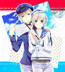 2boys axis_powers_hetalia blonde_hair blush flag hair_ornament hairclip hat height_difference highres iceland_(hetalia) male_focus multiple_boys norway_(hetalia) purple_eyes sailor_hat washi_(micino) wavy_mouth white_flag