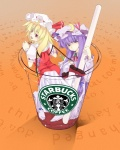 2girls blonde_hair cup fang flandre_scarlet hat highres in_container in_cup kurokuro long_hair minigirl multiple_girls patchouli_knowledge ponytail product_placement pun purple_eyes purple_hair red_eyes short_hair side_ponytail starbucks touhou wings