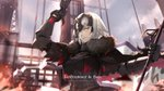 1girl absurdres arm_up armor armored_dress artist_name bagus_casbon banner black_dress breasts dress english fate/grand_order fate_(series) french fur_trim gauntlets grin highres holding holding_sword holding_weapon jeanne_d'arc_(alter)_(fate) jeanne_d'arc_(fate)_(all) large_breasts outdoors ranguage short_hair silver_hair smile solo standing sword title upper_body weapon yellow_eyes