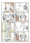 1girl 4koma =3 bird bowing chest_of_drawers child_drawing comic drawing duck eraser fallen_down fingerless_gloves flying_sweatdrops gloves grey_hair grey_shirt hanging_scroll head_wings highres indoors kemono_friends low_ponytail multiple_4koma murakami_rei necktie pencil scroll shirt shoebill_(kemono_friends) short_hair silent_comic smile white_neckwear