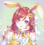 1girl animal_ears ao+beni bunny_ears chin_rest choker commentary_request easter fake_animal_ears flower frilled_choker frilled_cuffs frills hair_flower hair_ornament hair_ribbon hair_twirling hairband lips looking_at_viewer love_live! love_live!_school_idol_project medium_hair nishikino_maki petals purple_eyes red_hair ribbon solo upper_body veil wrist_cuffs yellow_choker