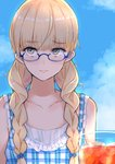 14sai_bishoujo_(shoutarou) 1girl alternate_hairstyle bangs blonde_hair blue-framed_eyewear blue_bow blue_dress blue_sky blunt_bangs bow braid casual closed_mouth cloud cloudy_sky commentary_request cup day dress drinking_glass eyebrows_visible_through_hair frilled_dress frills hair_bow hair_over_shoulder highres ice light_smile lips long_hair looking_at_viewer outdoors perrine_h_clostermann plaid plaid_dress semi-rimless_eyewear sky sleeveless sleeveless_dress solo strike_witches twin_braids under-rim_eyewear world_witches_series yellow_eyes
