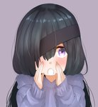 1girl :o absurdres bangs black_hair blush fate/grand_order fate_(series) hair_over_one_eye hand_to_own_mouth hands_up highres hood hood_down hoodie long_hair long_sleeves looking_at_viewer mochizuki_chiyome_(fate/grand_order) open_mouth purple_background purple_eyes purple_hoodie simple_background sleeves_past_wrists solo tanuki_(siutkm0228) very_long_hair