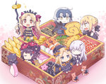 +_+ 6+girls ;) abigail_williams_(fate/grand_order) ahoge armor artoria_pendragon_(all) bangs black_bow black_cape black_dress black_footwear black_hair black_hat black_ribbon blonde_hair blue_eyes blush bow cape chibi closed_mouth commentary_request dress eating ereshkigal_(fate/grand_order) eyebrows_visible_through_hair fate/grand_order fate_(series) floral_print food fur-trimmed_cape fur_trim gauntlets grey_eyes hair_between_eyes hair_bow hair_bun hair_ribbon hat headpiece holding horn in_food jeanne_d'arc_(alter)_(fate) jeanne_d'arc_(fate)_(all) juubako katsushika_hokusai_(fate/grand_order) lavinia_whateley_(fate/grand_order) long_hair long_sleeves minigirl multiple_girls no_nose obentou obi octopus one_eye_closed open_mouth orange_bow osechi pale_skin parted_bangs pink_eyes pink_footwear purple_bow purple_cape red_eyes ribbon rioshi saber_alter sash shrimp silver_hair sitting skull sleeves_past_fingers sleeves_past_wrists smile sparkle stuffed_animal stuffed_toy sweat teddy_bear two_side_up v-shaped_eyebrows very_long_hair wavy_mouth white_hair wide-eyed yellow_eyes