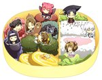 3boys 5girls :> ^_^ angel_wings anxia bangs beans black_hair black_headwear blush_stickers broccoli brown_eyes brown_hair butterfly_wings cardcaptor_sakura chibi closed_eyes creature daidouji_tomoyo double_bun dress egg_roll food fruit glasses green_headwear hair_ribbon hairband happy hat hiiragizawa_eriol in_container in_food kero kinomoto_sakura li_meiling li_xiaolang long_hair looking_at_another looking_away mizuki_kaho multiple_boys multiple_girls obentou open_mouth outline outstretched_arms parted_bangs purple_eyes purple_hair red_hair ribbon rice robe ruby_moon sausage simple_background sitting smile standing strawberry suppi two_side_up vegetable white_background white_hair white_outline wings yue_(ccs)