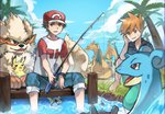 2boys :/ absurdres alolan_exeggutor arcanine barefoot black_shirt blue_pants blue_sky brown_eyes brown_hair charizard cloud commentary_request day dratini exeggutor fishing fishing_rod gen_1_pokemon grass hand_on_own_cheek highres huge_filesize knees_up lapras looking_at_viewer male_focus meru_(merumumu) multiple_boys ookido_shigeru outdoors pants pikachu pokemon pokemon_(creature) pokemon_(game) pokemon_sm red_(pokemon) shirt sitting sky soaking_feet sweat t-shirt wristband