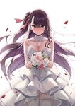 1girl bare_arms bare_shoulders blurry blush bouquet braid breasts choker cleavage closed_mouth collarbone cowboy_shot depth_of_field detached_collar dress embarrassed floating_hair flower french_braid garter_straps girls_frontline hair_ribbon holding holding_bouquet lace lace-trimmed_choker lace-trimmed_dress lace_choker lace_trim large_breasts layered_dress long_hair looking_at_viewer one_side_up petals pink_flower purple_hair rainmaker red_eyes red_flower ribbon rose simple_background smile solo standing thighhighs very_long_hair wa2000_(girls_frontline) wedding_dress white_background white_dress white_flower white_legwear