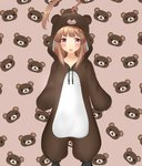 1girl ahoge animal_costume animal_hood bear_background bear_costume brown_eyes brown_hair commentary_request fang feet_out_of_frame highres hood huge_ahoge kantai_collection kiyu_fuyuki kuma_(kantai_collection) long_hair object_namesake open_mouth pink_background rilakkuma san-x skin_fang solo standing