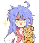 1girl ahoge avengers avengers:_infinity_war bangs blue_hair blush_stickers commentary eyebrows_visible_through_hair green_eyes infinity_gauntlet inkerton-kun izumi_konata long_hair long_sleeves looking_at_viewer lucky_star marvel mole mole_under_eye neckerchief open_mouth outline pink_neckwear red_sailor_collar ryouou_school_uniform sailor_collar school_uniform serafuku shirt simple_background smile solo upper_body white_background white_outline white_shirt