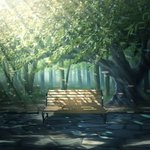 bench commentary_request dappled_sunlight day forest grass highres leaf light_particles light_rays nature no_humans original outdoors park park_bench pavement scenery someya_mai sunbeam sunlight tree tree_shade