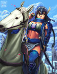 1girl armor banner black_hair blue_legwear breasts brown_eyes cleavage cup eyelashes feathers forehead_protector greaves hair_feathers highres horse katana large_breasts lips midriff navel original riding ryu_shou sarong scarf sheath sheathed solo spaulders sword thighhighs vambraces weapon