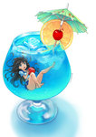 1girl absurdres ass barefoot black_hair blue_eyes blue_hawaii bolbbangbbang cherry cocktail cocktail_glass cocktail_umbrella commentary cup drink drinking_glass food fruit grey_panties highres ice ice_cube in_container in_cup legs lemon lemon_slice long_hair looking_at_viewer minigirl open_mouth original panties school_uniform serafuku solo submerged tropical_drink underwear very_long_hair