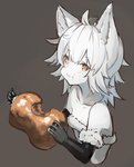 1girl :t ahoge animal_ears bangs black_gloves blush boned_meat brown_background brown_eyes closed_mouth collarbone copyright_request cropped_torso eating elbow_gloves eyebrows_visible_through_hair food fur-trimmed_gloves fur_trim gloves hair_between_eyes holding holding_food long_hair looking_at_viewer meat nekomegane simple_background solo strapless wavy_mouth white_hair white_skin