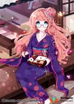1girl blue_eyes braid breasts brown_hair chopsticks clenched_hand collarbone company_name copyright_name cross eyebrows_visible_through_hair food harin_0 holding holding_chopsticks japanese_clothes kimono long_hair looking_at_viewer medium_breasts obentou onigiri qurare_magic_library sandals semi-rimless_eyewear sitting socks solo sushi white_legwear