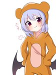 1girl >:) animal_costume animal_ears animal_hood bangs bat_wings bear_costume bear_ears bear_hood black_wings blush closed_mouth commentary_request eringi_(rmrafrn) eyebrows_visible_through_hair fake_animal_ears fang fang_out hair_between_eyes hands_on_hips head_tilt hood hood_up low_wings purple_hair red_eyes remilia_scarlet simple_background smile smug solo touhou translation_request v-shaped_eyebrows white_background wings