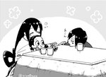 1boy 2girls aiue0 asui_samidare asui_satsuki asui_tsuyu black_eyes blush_stickers boku_no_hero_academia brother_and_sister chewing closed_eyes commentary_request cup feeding food frog_girl fruit graphite_(medium) hair_rings indoors kotatsu long_hair low-tied_long_hair mandarin_orange millipen_(medium) mug multiple_girls open_mouth siblings sisters sitting sleeping table traditional_media