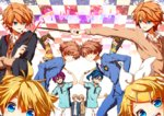 ! 3girls 6+boys :d ahoge aiming arms_up asaba_yuuki asaba_yuuta ball bangs blazer blonde_hair blue_eyes blue_hair blue_necktie blush brother_and_sister brothers brown_eyes brown_hair checkered checkered_background closed_eyes crossed_arms crossover dress_shirt fred_weasley frilled_skirt frills futami_ami futami_mami george_weasley green_eyes hair_ornament hair_ribbon hairclip hand_up harry_potter head_out_of_frame head_to_head headphones highres hitachiin_hikaru hitachiin_kaoru holding holding_weapon hood hood_down hoodie hoodie_vest idolmaster jacket jumping kagamine_len kagamine_rin kapirusu kimi_to_boku leaning_forward leaning_on_person leaning_to_the_side long_hair long_sleeves looking_at_another looking_at_viewer looking_to_the_side multiple_boys multiple_crossover multiple_girls necktie open_mouth ouran_high_school_host_club pants parted_lips purple_hair racket red_hair ribbon school_uniform shirt shoes short_hair short_sleeves shorts siblings side_ponytail sisters skirt smile sportswear striped striped_necktie sweater symmetrical_pose symmetry tanaka_kouhei tanaka_youhei tennis_ball tennis_no_ouji-sama tennis_racket text trait_connection twins v vest vocaloid wand weapon white_shirt yellow_eyes zipper