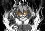 1girl animal_ears aura bangs claws commentary cowboy_shot evil_smile fangs fur_collar glowing glowing_eyes greyscale halftone kaya_(nari1-24) kemono_friends leaning_forward lion_(kemono_friends) lion_ears looking_at_viewer medium_skirt monochrome muscle muscular_female necktie open_mouth saliva shirt short_hair short_sleeves smile solo spot_color standing steam veins yellow_eyes
