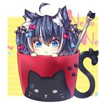 1girl :< ahoge animal_ear_fluff animal_ears blue_bow blue_eyes blue_hair blush bow cat_ears chibi closed_mouth commentary_request cup hair_bow in_container in_cup long_hair minigirl multicolored_hair ooji_cha original plaid plaid_bow red_bow sidelocks solo streaked_hair twintails white_hair