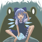 1girl animal barefoot blue_bow blue_dress blue_eyes blue_hair blue_ribbon bow cirno dress face frog frozen frozen_frog hair_bow hair_ribbon ice ice_wings miyo_(ranthath) oogama open_mouth oversized_animal puffy_short_sleeves puffy_sleeves ribbon short_sleeves sitting smile solo spread_legs touhou wings