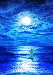 1girl blue blue_sky cloud cloudy_sky commentary_request dress floating_hair full_moon highres horizon kun52 long_dress long_hair moon night night_sky ocean original scenery see-through_silhouette sky solo standing tsukimi wading waves
