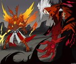 2boys blazblue blazblue:_calamity_trigger blood_cain blood_cain_idea claws cloud cloudy_sky commentary commission crossover devoured_by_darkness dragon_horns dragon_install dragon_tail dragon_wings duel energy_sword energy_wings english_commentary evil_eyes evil_grin evil_smile extra_eyes fighting grin guilty_gear guilty_gear_2 horns jacket kawaiisonicchao left-handed male_focus multiple_boys muscle no_pupils open_mouth ragna_the_bloodedge red_eyes reverse_grip rock silver_hair sky smile sol_badguy spiked_hair sword tagme tail weapon wings yellow_eyes