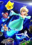 2boys 2girls 3d aqua_dress blonde_hair crown dress flying fox_mccloud hair_over_one_eye luma mario mario_(series) multiple_boys multiple_girls nail_polish official_art rosalina_(mario) space star_fox super_mario_bros. super_mario_galaxy super_smash_bros. wand white_skin wii_fit wii_fit_trainer
