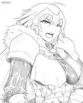 1girl ahoge armor armored_dress bangs breasts cape chain eyebrows_visible_through_hair fate/grand_order fate_(series) faulds fur-trimmed_cape fur-trimmed_sleeves fur_collar fur_trim gauntlets greyscale headpiece jeanne_d'arc_(alter)_(fate) jeanne_d'arc_(fate)_(all) large_breasts monochrome open_mouth short_hair signature solo upper_body wangphing white_background