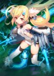 1girl ahoge ankle_boots azur_lane bangs bare_shoulders black_footwear blush boots breasts cannon character_name closed_mouth clothes_writing collarbone covered_navel detached_sleeves dual_wielding eldridge_(azur_lane) electricity eyebrows_visible_through_hair facial_mark full_body fur-trimmed_boots fur_collar fur_trim glowing hair_ornament hairclip highres holding holding_weapon iltusa leaning_forward legs_apart light_particles long_hair long_sleeves looking_at_viewer machinery puffy_long_sleeves puffy_sleeves shiny shiny_hair shiny_skin side_cutout small_breasts solo standing swept_bangs tareme tentacles thighhighs thighs twintails very_long_hair weapon white_legwear