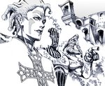 2boys building cioccolata crosshatching facial_mark graphite_(medium) green_day_(stand) greyscale jojo_no_kimyou_na_bouken lipstick looking_afar makeup male_focus monochrome multiple_boys nobita oasis_(stand) pointing secco smile stand_(jojo) striped traditional_media vento_aureo