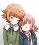 1boy 1girl age_difference brown_eyes brown_hair child commentary_request crossdressing danganronpa danganronpa_1 dot_nose eyebrows_visible_through_hair flipped_hair fujisaki_chihiro green_neckwear green_ribbon green_shirt hair_ornament hairclip highres hood hoodie leaning leaning_on_person nanami_chiaki one_eye_closed open_mouth otoko_no_ko pink_hair pink_neckwear pink_ribbon ribbon saliva school_uniform shirt short_hair simple_background sleeping smile super_danganronpa_2 upper_body white_background white_shirt y3010607