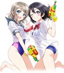 2girls :d ass bangs bare_legs barefoot black_hair blouse blue_eyes blush bow bowtie breasts commentary cousins curvy eyebrows_visible_through_hair family grey_hair highres holding_hands looking_at_viewer love_live! love_live!_sunshine!! medium_breasts multiple_girls neckerchief no_pants one-piece_swimsuit one_eye_closed open_mouth purple_eyes rozen5 sailor_collar school_uniform see-through shirt short_hair short_sleeves sidelocks simple_background skindentation smile swimsuit teeth watanabe_tsuki watanabe_you water_drop water_gun wet wet_clothes wet_hair white_background white_shirt