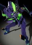 commentary_request dark_background eva_01 highres holding holding_weapon horn legs_apart mecha neon_genesis_evangelion no_humans shadow standing weapon yang-do