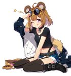 1girl ahoge animal_ears bear_ears bear_girl brown_hair child collar commentary_request doughnut eyewear_on_head food full_body fur_trim garter_straps girls_frontline glasses grizzly_mkv_(girls_frontline) highres jacket looking_at_viewer narynn one_eye_closed purple_eyes shorts smile solo thighhighs younger