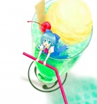 (9) 1girl blue_eyes blue_hair bow cirno cup drinking_straw food heihachi ice_cream in_container in_cup in_food minigirl mundane_utility short_hair solo sundae touhou