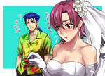 1boy 1girl alt_gray bangs bare_shoulders bazett_fraga_mcremitz blue_hair bridal_veil dress earrings elbow_gloves embarrassed fate/hollow_ataraxia fate_(series) flower gloves hair_flower hair_ornament hand_in_pocket hawaiian_shirt jewelry lancer long_hair looking_at_another low_ponytail mole mole_under_eye purple_hair red_eyes rose shirt short_hair smirk strapless strapless_dress sweatdrop veil wedding_dress white_gloves white_rose