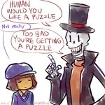 1boy androgynous brown_hair cosplay english flat_cap frisk_(undertale) hat hershel_layton hershel_layton_(cosplay) highres luke_triton luke_triton_(cosplay) night_(nightmargin) papyrus_(undertale) professor_layton skeleton top_hat undertale