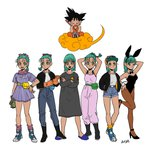 1boy 6+girls :d :o ;) absurdres adjusting_clothes adjusting_gloves alternate_color alternate_costume animal_ears aqua_eyes aqua_hair armpits arms_up artist_name bare_arms bare_legs bare_shoulders baseball_cap belt black_eyes black_footwear black_hair boots bracelet braid bulma bunny_ears bunny_tail bunnysuit character_name clothes_writing crossed_arms denim denim_shorts dragon_ball dragon_ball_(classic) dress dual_persona expressionless eyebrows_visible_through_hair eyelashes flying_nimbus full_body gloves hair_ribbon hand_on_hip happy hat high_heels highres jacket jeans jewelry leg_up looking_away looking_down looking_up multiple_girls necktie nightgown nyoibo okada_(hoooojicha) one_eye_closed open_mouth orange_legwear pants pantyhose purple_dress purple_legwear radar ribbon scarf see-through shirt short_hair shorts simple_background sitting slippers smile socks son_gokuu spiked_hair standing striped tail vertical-striped_dress vertical_stripes white_background white_shirt