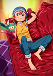 1girl barefoot book brown_eyes brown_hair capri_pants couch denim dfer digimon digimon_adventure full_body gloves hat highres jeans looking_at_viewer lying on_back pants pants_rolled_up solo takenouchi_sora