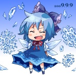 1girl blue_hair bow chibi cirno dress fang hair_bow lowres pote_(ptkan) short_hair snowflakes solo touhou wings