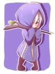 1girl absurdres akebia_fruit bangs blush boots brown_footwear clenched_teeth commentary_request eyebrows_visible_through_hair full_body hair_over_one_eye highres holding holding_stick hood_up hooded_robe idaten93 long_sleeves looking_at_viewer original personification pigeon-toed purple_background purple_eyes purple_robe robe sleeves_past_wrists solo standing stick teeth two-tone_background white_background white_hair
