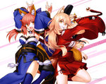 2girls :d absurdres animal_ears arms_up bangs blonde_hair blue_legwear breasts cleavage clenched_teeth copyright_name detached_sleeves eyebrows_visible_through_hair fang fate/extra fate/extra_ccc fate/extra_ccc_fox_tail fate_(series) fox_ears fox_shadow_puppet fox_tail hakama hat highres holding holding_sword holding_weapon japanese_clothes kimono long_hair looking_at_viewer medium_breasts multiple_girls obi one_leg_raised open_mouth orange_eyes pink_hair red_hakama ribbon-trimmed_sleeves ribbon_trim sash smile standing standing_on_one_leg suzuka_gozen_(fate) sword tail takenoko_seijin tamamo_(fate)_(all) tamamo_no_mae_(fate) tate_eboshi teeth thighhighs weapon wide_sleeves yellow_eyes