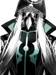 1boy asclepius_(fate/grand_order) au_(d_elite) bangs black_jacket crossed_bangs eyebrows_behind_hair fate/grand_order fate_(series) green_eyes hair_between_eyes hood hood_up hooded_jacket hoodie jacket long_hair long_sleeves looking_at_viewer male_focus mask silver_hair simple_background solo upper_body