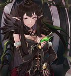 1girl absurdres bangs bare_shoulders between_breasts black_cola black_dress black_hair breasts bridal_gauntlets brown_eyes chain closed_mouth commentary_request cup dress drink drinking_glass fate/apocrypha fate_(series) fingernails frills fur_trim hand_up highres holding holding_cup large_breasts long_hair pointy_ears semiramis_(fate) sidelocks smile solo v-shaped_eyebrows very_long_hair