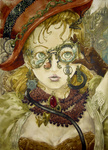 1girl adjusting_glasses breasts cleavage colmack face glasses gloves hat highres lips medium_breasts original solo steampunk traditional_media upper_body watercolor_(medium)