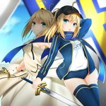 2girls artoria_pendragon_(all) baseball_cap black_headwear black_legwear blonde_hair blue_buruma blue_eyes blue_jacket blue_scarf blue_sky blurry blurry_background buruma caliburn character_name day dress excalibur eyebrows_visible_through_hair fate/grand_order fate/unlimited_codes fate_(series) gloves green_eyes gym_uniform hair_between_eyes hat holding holding_sword holding_weapon jacket long_dress long_hair looking_at_viewer multiple_girls mysterious_heroine_x open_clothes open_jacket open_mouth ponytail saber_lily santarou scarf shirt sidelocks sky sleeveless sleeveless_dress strapless strapless_dress sword thighhighs weapon white_dress white_gloves white_shirt