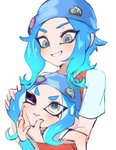 2girls badge beanie blue_hair blue_hat button_badge dual_persona eyeliner grin hand_on_another's_face hand_on_another's_head hat highres humanization jtveemo long_hair looking_at_another makeup multiple_girls octarian octoling one_eye_closed short_sleeves silver_eyes simple_background smile splatoon_(series) splatoon_2 tentacle_hair v-shaped_eyebrows white_background wristband
